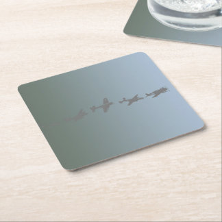 WWII Aircraft Square Paper Coaster
