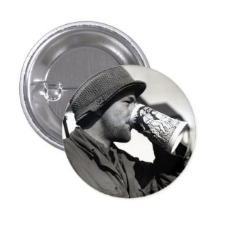 WWII American Soldier Drinking Beer Pinback Button