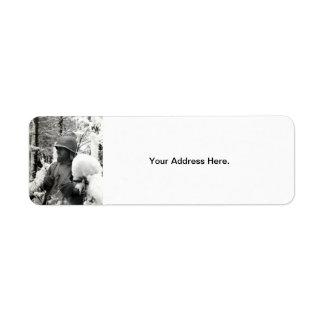 WWII American Soldier in Bastogne Return Address Label