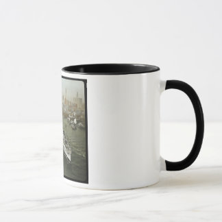 WWII Battleship on the Hudson River Vintage Mug
