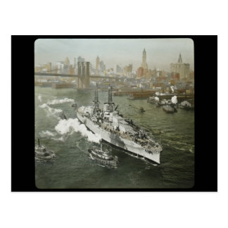 WWII Battleship on the Hudson River Vintage Postcard