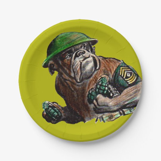 WWII bulldog dog soldier Sgt. Rover 7 Inch Paper Plate