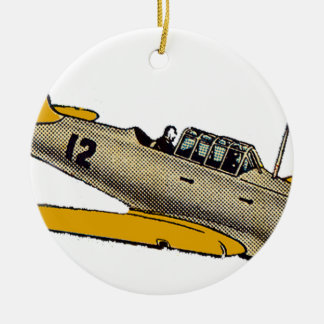 WWII Era Navy Plane Round Ceramic Ornament