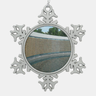 WWII Memorial Freedom Wall in Washington DC Pewter Snowflake Ornament