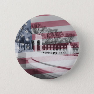 WWII Memorial with Flag Overlay 2 Inch Round Button