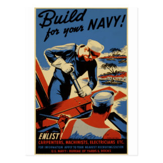 WWII Navy Poster Design Postcard