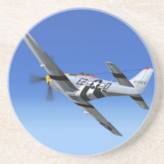 WWII P51 Mustang Fighter Plane Beverage Coaster