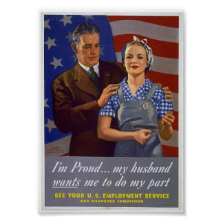 WWII Patriotic Poster  / Civilian Jobs