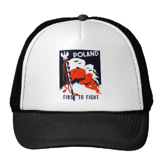WWII Poland First to Fight Poster Trucker Hat