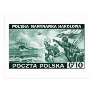WWII Polish Merchant Navy Postcard