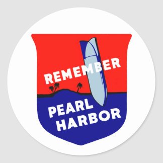 WWII Remember Pearl Harbor Round Sticker