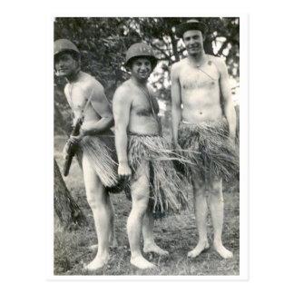WWII soldiers in grass skirts Postcard