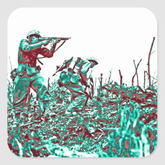WWII Soldiers on Battlefield Square Sticker