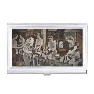 WWII Women in Assembly Line Business Card Cases
