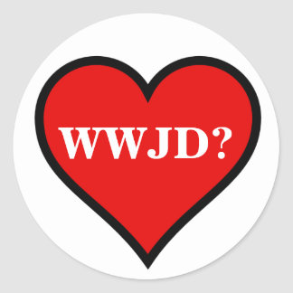 WWJD Heart Round Sticker