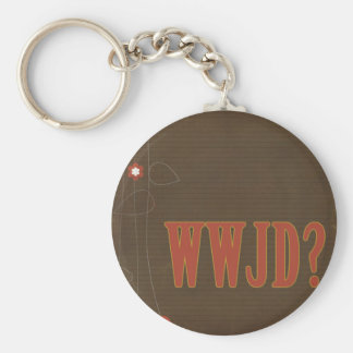 WWJD rust text whimsy Basic Round Button Keychain
