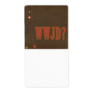 WWJD rust text whimsy Custom Shipping Label