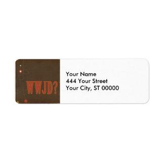 WWJD rust text whimsy Return Address Labels