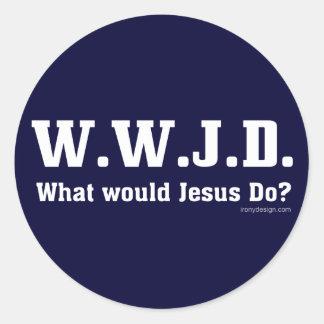 WWJD? What Would Jesus Do? Round Sticker