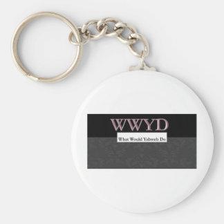 WWYD - What Would Yahweh Do - Regal Purple Basic Round Button Keychain