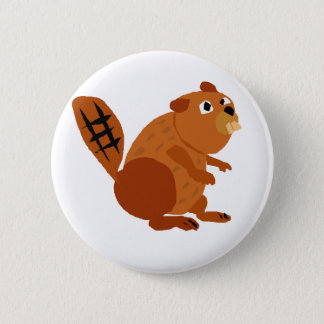 WX- Funny Beaver Primitive Art 2 Inch Round Button