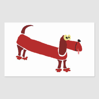 WX- Funny Dachshund Primitive Art Stickers