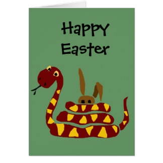 WX- Funny Snake Squeezing Rabbit Cartoon Card