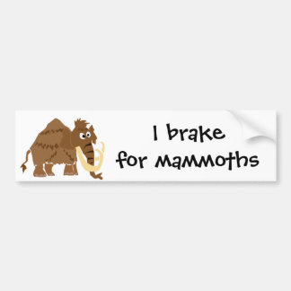 WX- Funny Woolly Mammoth Primitive Art Bumper Sticker