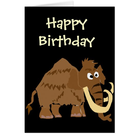 WX- Funny Woolly Mammoth Primitive Art Card
