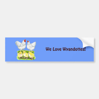 Wyandotte White Chicken Family Bumper Sticker