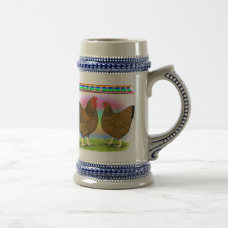 Wyandottes:  Golden-laced Rainbow Beer Stein