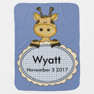 Wyatt's Personalized Giraffe Baby Blanket