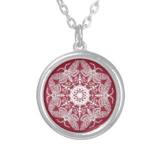 Wycinanka Moth Pattern Silver Plated Necklace