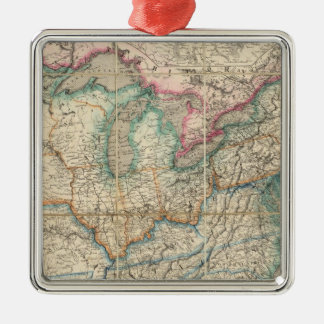 Wyld's Military Map Of The United States Silver-Colored Square Ornament