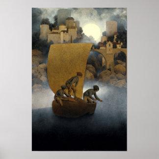 Wynken, Blynken, and Nod by Maxfield Parrish 1902 Poster
