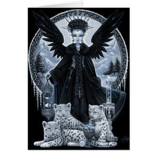 Wynter Gothic Snow Leopard Angel Winter Time Scene Card