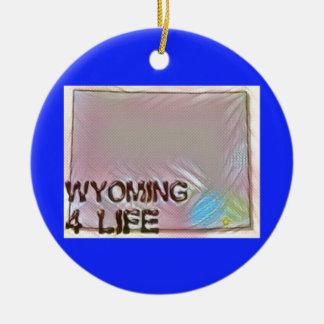 """Wyoming 4 Life"" State Map Pride Design Ceramic Ornament"