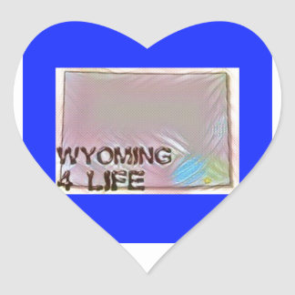 """""""Wyoming 4 Life"""" State Map Pride Design Heart Sticker"""