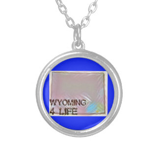 """""""Wyoming 4 Life"""" State Map Pride Design Silver Plated Necklace"""