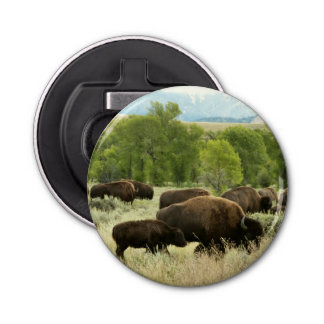 Wyoming Bison Nature Animal Photography Button Bottle Opener
