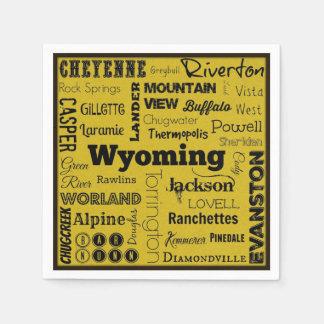 Wyoming cities typography napkins disposable napkins