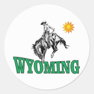 Wyoming cowboy classic round sticker