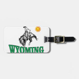 Wyoming cowboy luggage tag