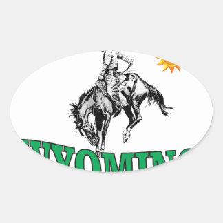 Wyoming cowboy oval sticker