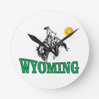 Wyoming cowboy round clock