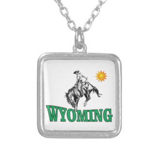 Wyoming cowboy silver plated necklace