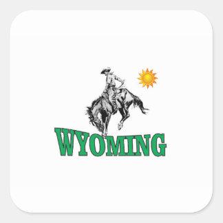 Wyoming cowboy square sticker