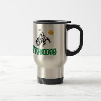 Wyoming cowboy travel mug