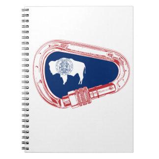 Wyoming Flag Climbing Carabiner Spiral Notebook