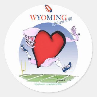 wyoming head heart, tony fernandes round sticker